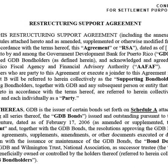 Restructuring Support Agreement